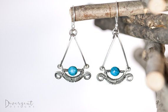 """These beauties remind me of the moon every time I look at them.  Silver wire woven earrings, with turquoise.  Length: 5.3cm/2.08""""  ** All my ear posts are made of sterling silver and are nickel free."""