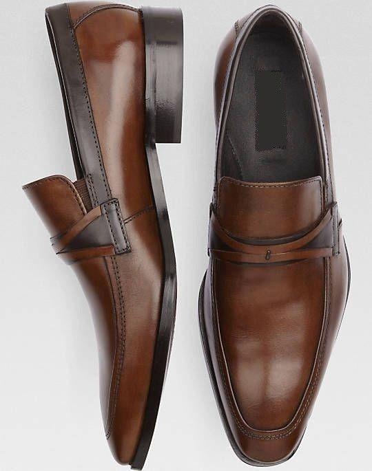 Handmade Men Fashion Brown Formal Shoes Moccasins Men Leather Dress