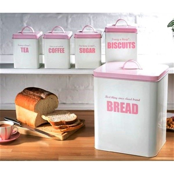 Pojemnik kuchenne metalowe biało-różowe komplet 5 sztuk- retro - Sklep ślubny de Soie