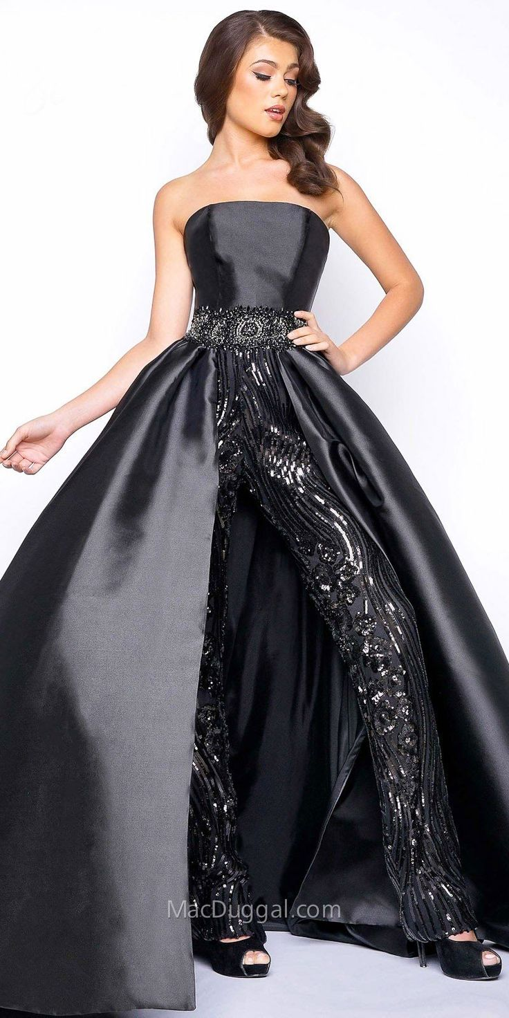 Strapless Sequin Jumpsuit With Overskirt by Mac Duggal