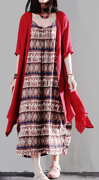 Red print sundress asymmetric fake two pieces summer maxi dresses
