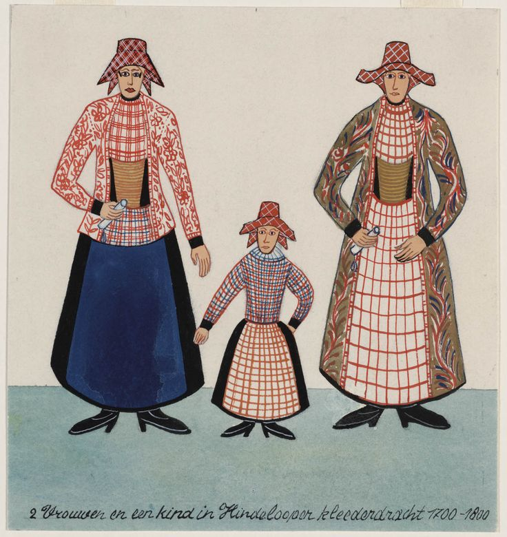 """2 vrouwen en een kind in Hindelooper kleederdracht 1700-1800.""  (Two women and a child in Hindeloopen regional costume, 1700-1800.)   Artists: N. Huppes and Hendrik J. Lap, 1849.  Women's costume of the town of Hindeloopen, province of Friesland, The Netherlands."