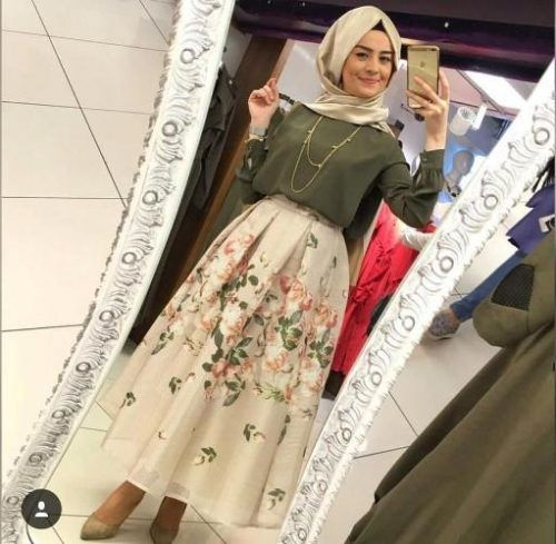 puffy floral maxi skirt hijab style- Colorful fashionable hijab outfits…