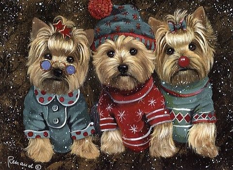 Yorkshire Terrier Elves  Garden Flags, Large House Flags, Greeting Cards,  And Canvas Print