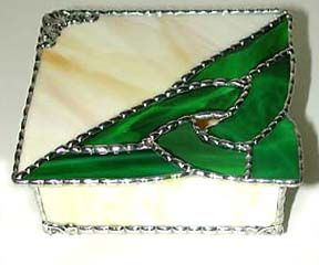 """Celtic Knot Stained Glass Jewel Box - 5"""" x 5"""" - To see this and more, visit us at www.AccentOnGlass.com"""