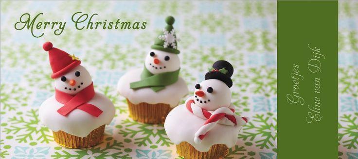 kerstkaart maken van foto zelfgemaakte cupcakes