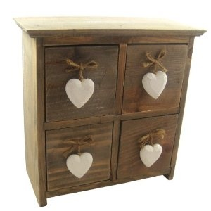 Get Gisela Graham Shabby Chic 4 Drawer Lime Wash Box with Heart Handle at Gisela Graham