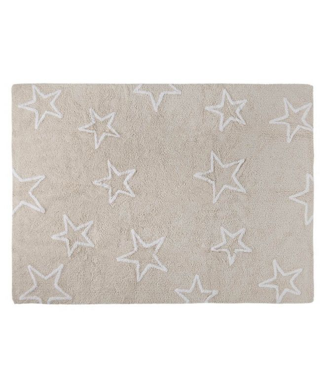 Carpet full of stars Carpet for children's rooms: delicate and soft touch texture May be cleaned in a washing machine! 100% natural cotton, handmade Non-toxic dyes, manufactured under ISO and AITEX standards Available in 3 colour versions