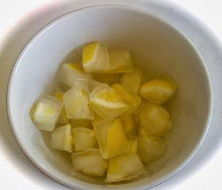 Lemon ice cubes for our iced tea