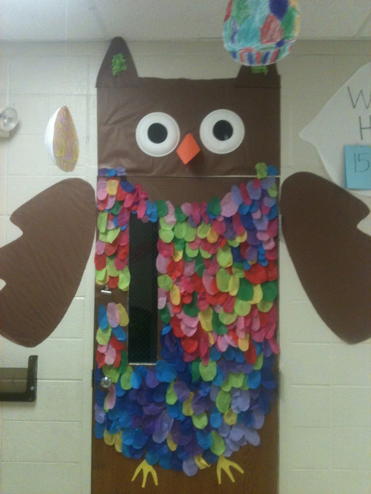 Owl door decoration...{Could also be a way of keep track of members joining PTA}
