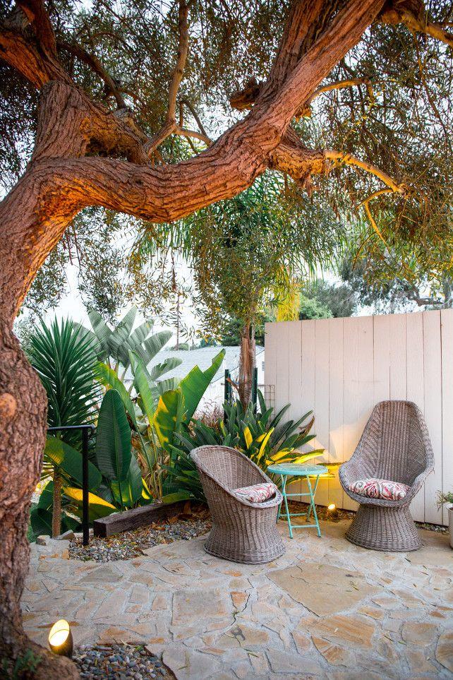 Patio. Backyard patio under oak tree. #Patio #OakTree Brit Solie.