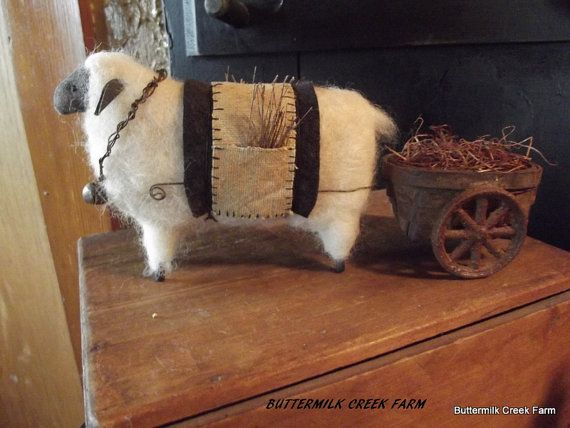 PRIMITIVE Wool Felted Sheep and Pull Cart