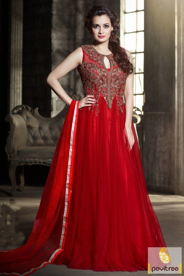 #Red Color Dia Mirza Special Designer Anarkali #Suit With Price  @ http://www.pavitraa.in/store/gown/?utm_source=pk&utm_medium=pinterestpost&utm_campaign=14March