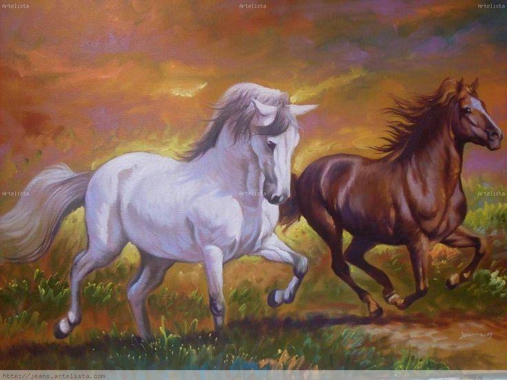 paisajes con caballos al oleo ile ilgili görsel sonucu