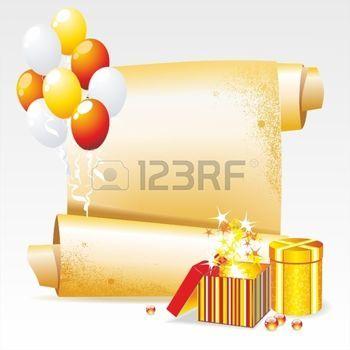 feu d artifice: Arrière-plan de vecteur pour vos félicitations. Bannière avec des cadeaux et des ballons.