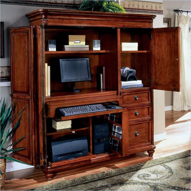 1000 ideas about computer armoire on pinterest gaming for All wood computer desk