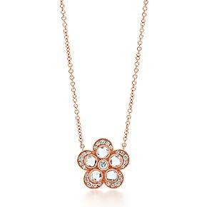 Pendente a forma di fiore Tiffany Garden, in oro rosa 18 ct e diamanti, piccolo.