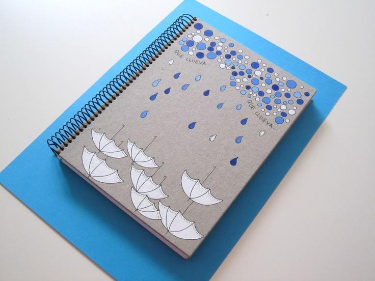 "Cuaderno pintado a mano sobre cartón de 2mm. Modelo ""Lluvia"" / Customized A5 handpainted notebook with 2mm cardboard hardcover."