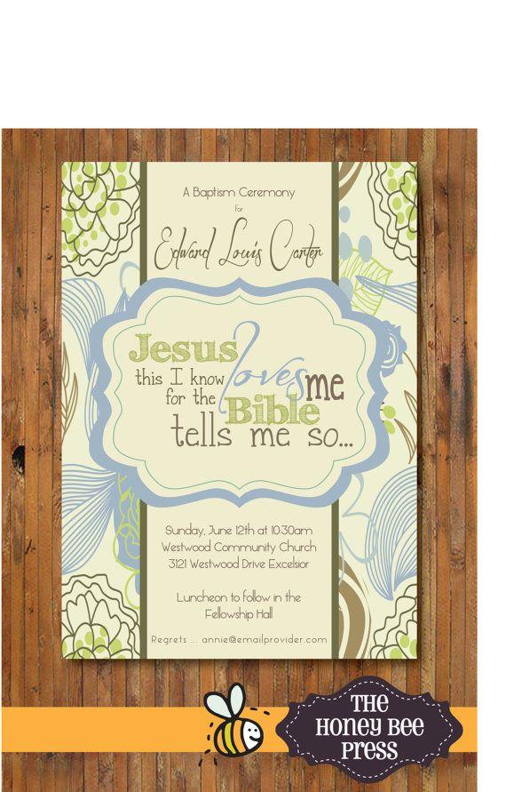 Baptism Invitation ... Jesus Loves Me Modern Baptism Invitation ... other color schemes available -item 0095b