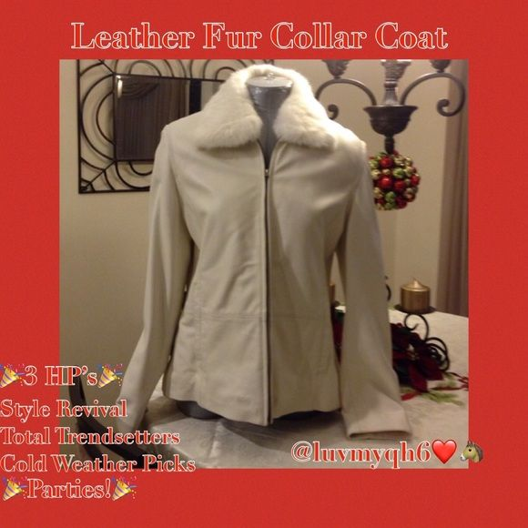 Leather Fur Collar Coat🎉3X HP🎉 Off White Color Wilson Fur Collar Coat! I bought this for my mom! She loved it, it is beautiful! Professionally cleaned and stored. We don't have to many cold days here in Florida! Lining is quilted silky polyester! 100% leather. Thinsulate insulation. Sm stain on inside, but not noticeable! Real fur collar is removable! Says Lg but fits me! From top of collar to the base of coat it is 27 in. across the front top 18 in. wide, across base it is 22 in. 🎉HP…