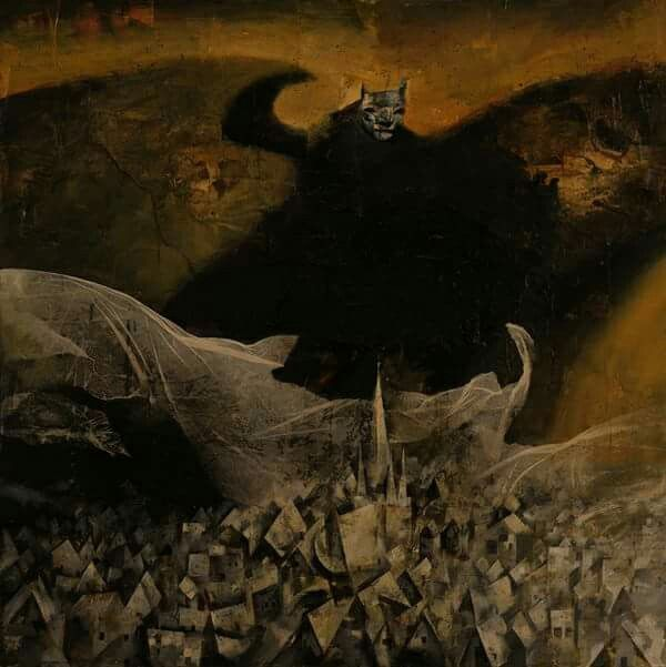 Cubist interpretation of Faust film still . Painting by Dave McKean.