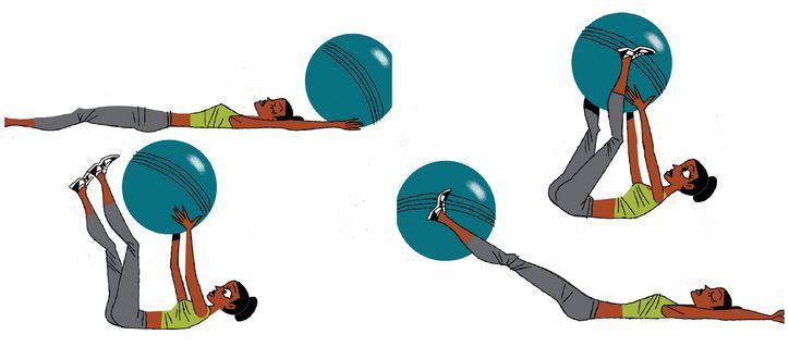 David Kirsch's stability ball hand offs (works abs)