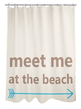 45% OFF One Bella Casa Meet Me at the Beach Shower Curtain, Oatmeal/Blue