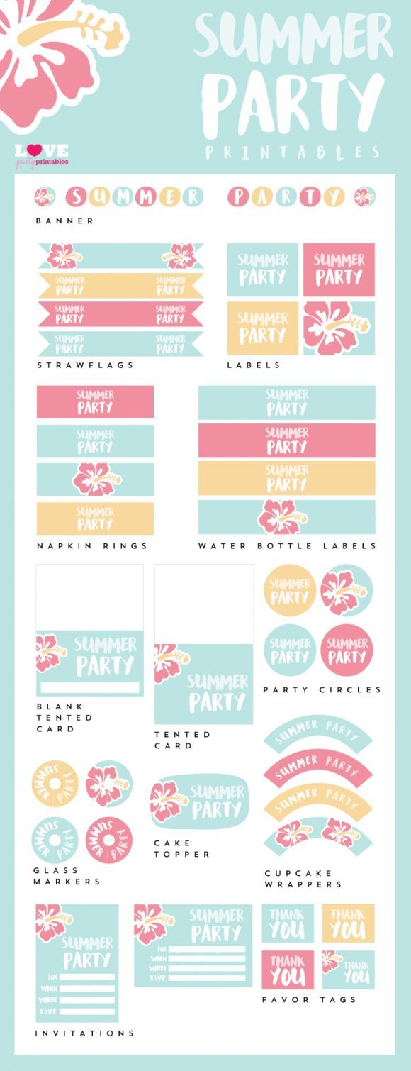 Free Summer Party Printables to use for all your summer parties! Check out the whole collection. | CatchMyParty.com