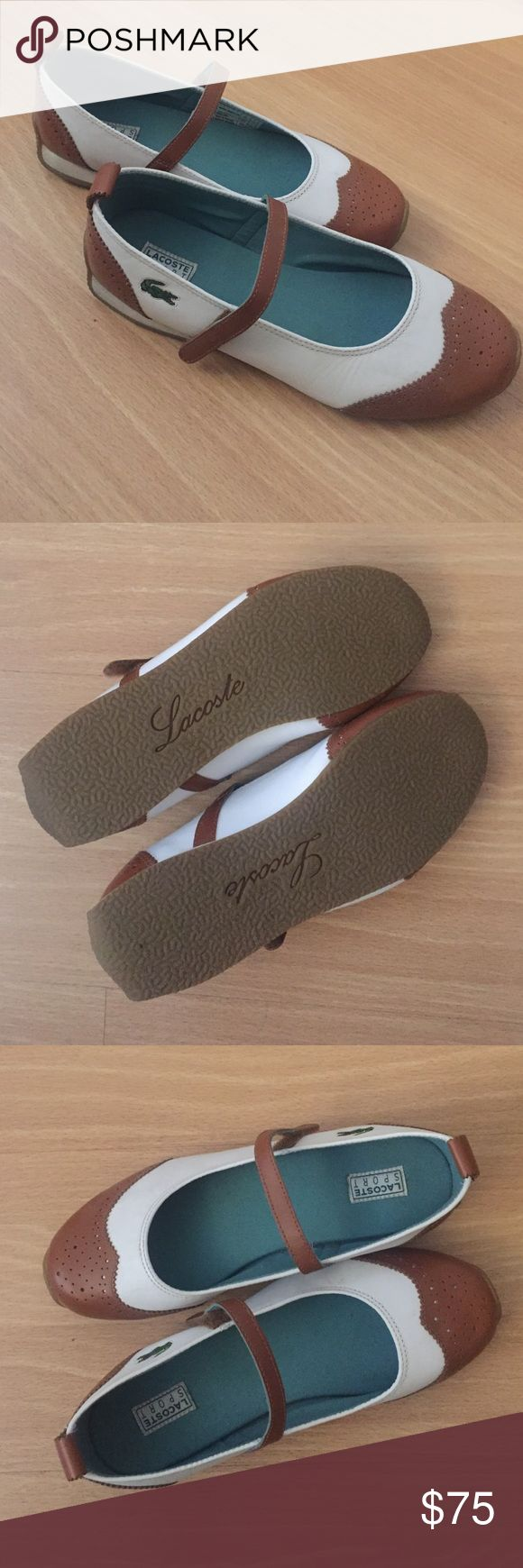 SALE! 🎉 Brand New Lacoste Flats Adorable preppy Lacoste Flats. BRAND NEW NEVER WORN! - sorry I lost the box. US size 7, Euro 38. Cute 1950's Mary Jane style! On Sale! Lacoste Shoes Flats & Loafers