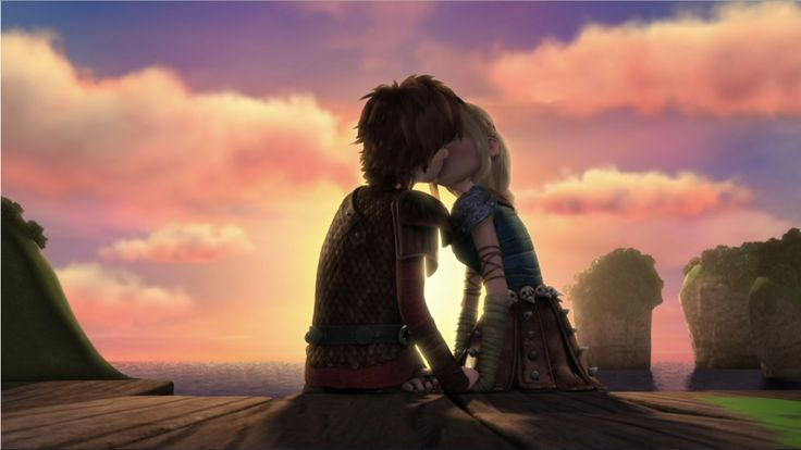 Hiccup and Astrid's romantic kiss scene in the sunset from Dreamworks Dragons Race to the Edge