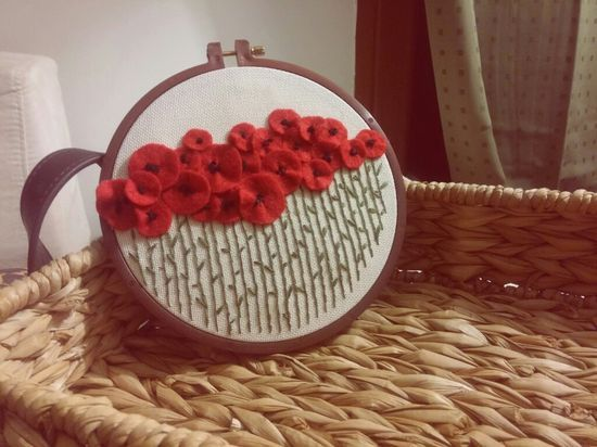 felt poppy field with hand embroidery buds