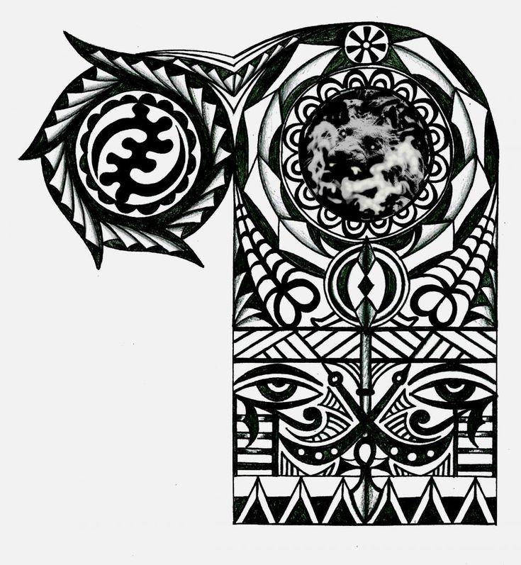 28 African Tribal Tattoo Designs Ideas: Adinkra African Warrior Tribal Half Sleeve Tattoo