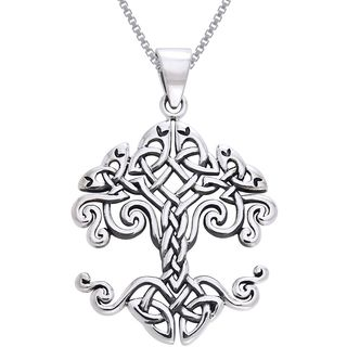 Crafted of fine .925 sterling silver, this necklace features an intricate Celtic knot work design forming the Celtic Tree of Life. The highly polished pendant is strung on an 18-inch sterling silver b