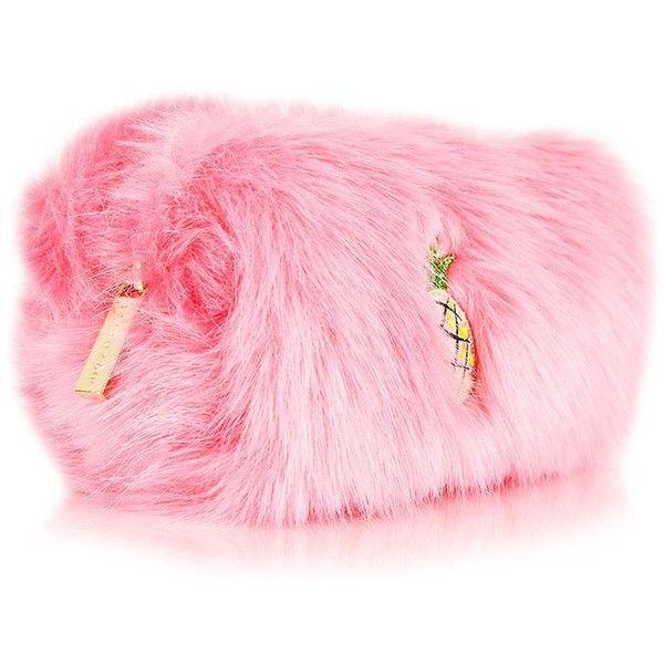 Embroidered Fur Make Up Bag by Skinnydip ($24) ❤ liked on Polyvore featuring beauty products, beauty accessories, bags & cases, pink, wash bag, purse makeup bag, toiletry kits, makeup purse and dop kit