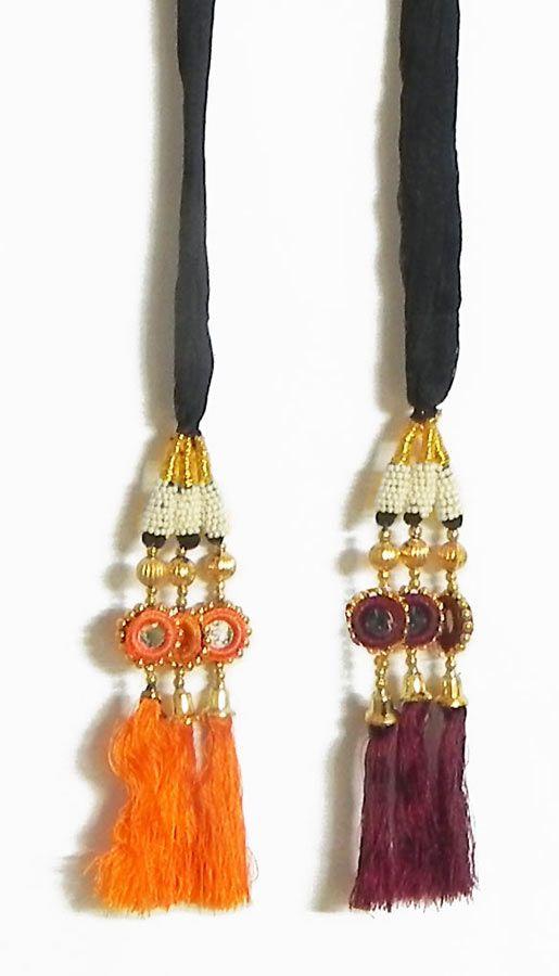 A Pair of Parandi - For Hair Braids with Saffron and Maroon Tassels (Thread)