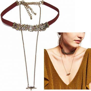 Get the trendy #choker necklace which has metal type of zinc alloy and has pendant size of 10cm. It weighs 30g and it can be used for engagement gift and party.  #choker #jewelry #necklace #chokernecklace