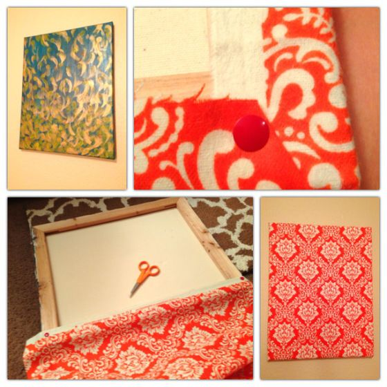 Cover old canvases or frames with fabric and pins for a quick face lift that's cheap and easy! Broke Girl DIY: Fabric-Covered Canvas @collegiateculinaire #brokegirl #diy