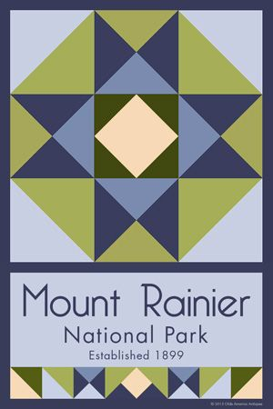 Mount Rainier National Park Quilt Block designed by Susan Davis. Susan is the owner of Olde America Antiques and American Quilt Blocks She has created unique quilt block designs to celebrate the National Park Service Centennial in 2016. These are the first quilt blocks designed specifically for America's national parks and are new to the quilting hobby.