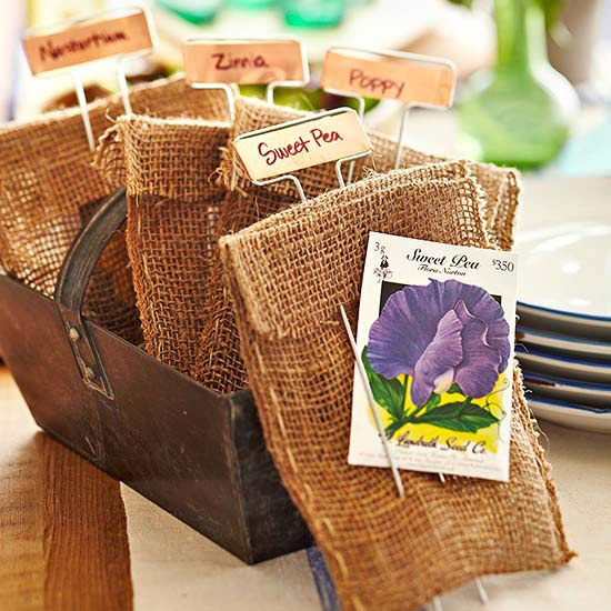 Flower seeds party favors are a great gift for your party-goers! More here: http://www.bhg.com/party/birthday/party-games/birthday-party-favors-for-adults/?socsrc=bhgpin072614flowerseedspartyfavors&page=6