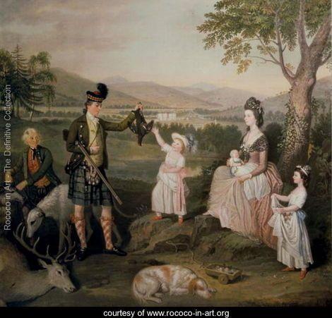 John, the 4th Duke of Atholl and his family, 1780 - David Allan - www.rococo-in-art.org