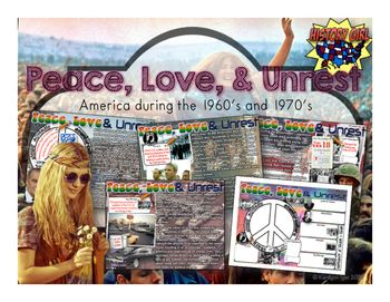 Condensed lesson summarizing the changing U.S. culture during the 1960's and 1970's. Topics include: Antiwar Protests, Counter Culture and Hippies, Hawks & Doves, Kent State Tragedy, 26th Amendment, POW's, Watergate, and the 1973 Energy Crisis. Includes editable PowerPoint, coordinating student infographic style note taking sheets, links to optional YouTube video content, and a teacher's answer key.I use this as an introduction before doing the 1968 Time Warp interactive activity with my ...