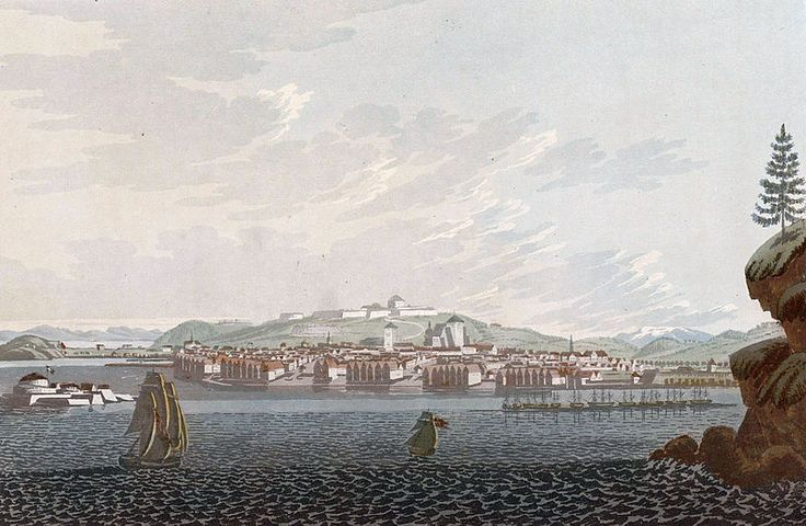 """City of Drontheim (JW Edy plate 72). English: """"City of Drontheim"""" Norsk bokmål: «Staden Tronhjem» Drawing by John William Edy (1760-1820) from his journey along the coast of Norway during the summer of 1800. Published in Boydell's picturesque scenery of Norway in 1820."""