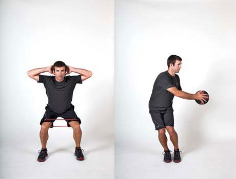 Exercises for Skiers: How to prevent sore knees and torn knee ligaments with squats and a medicine ball.