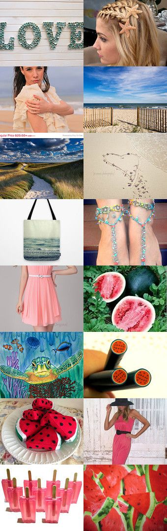 Love, beach and watermelon by Bibe Jewelry on Etsy--Pinned with TreasuryPin.com