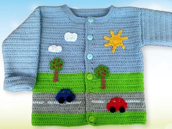 Ein gehäkeltes Jäckchen für kleine Jungs wie ein Bilderbuch. Die Jacke ist aus Merinowolle (Lauflänge 125 m je 50 g) gehäkelt und somit ideal für kühlere Tage. So etwas einzigartiges ist auch ein schönes Geschenk. Die Anleitung beinhaltet die Besc