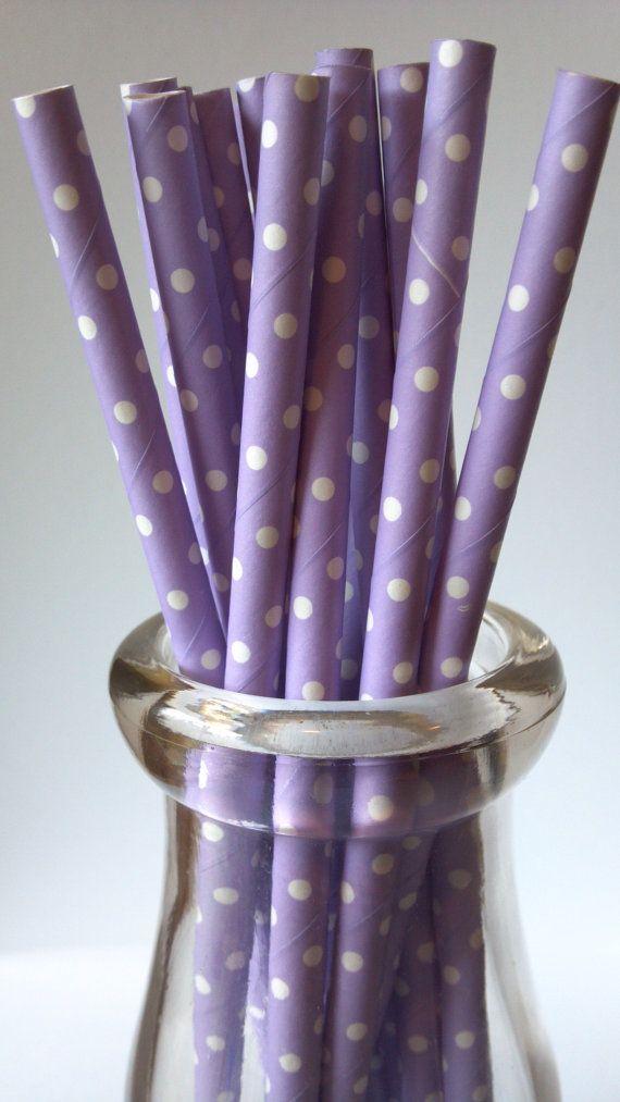 Lavender w/ White Swiss Dot Paper Straws 25 by AisforApronStrings, $4.25