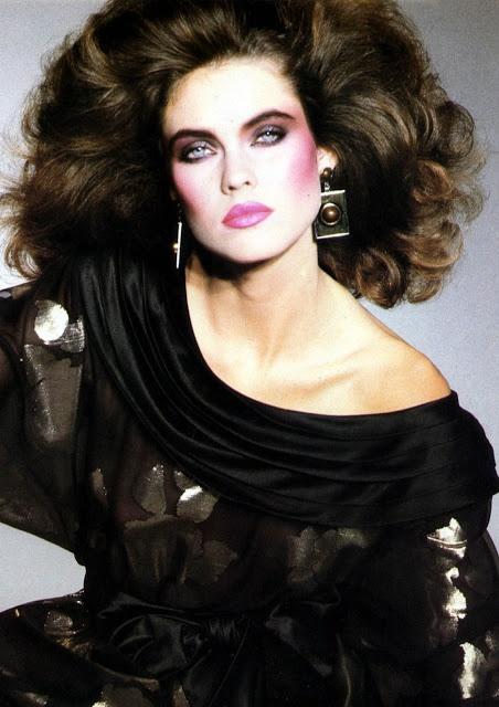 1980's - big hair - big earrings - Carol Alt