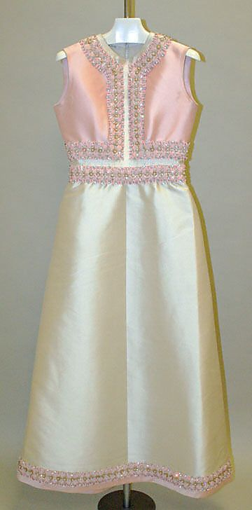 Balmain Haute Couture evening dress and jacket ensemble from 1966. Made from pale pink silk with beaded embroidery embroidered with pearl, bead and sequin pailette. Pierre Balmain #Haute #Couture #Fashion House of Balmain.