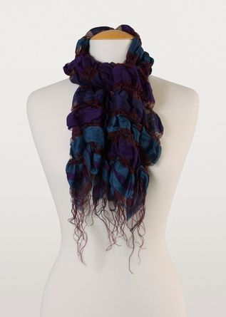 Berry pretty! Wrap yourself in the stylish beauty of this silk and cotton ruched scarf from India.