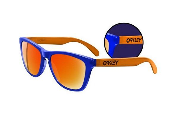 blue and orange oakley sunglasses  oakley frogskins collectors editions blacklight blue orange fire iridium sunglasses